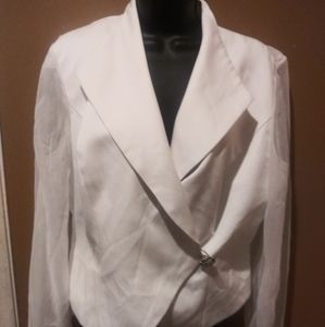 J.R. Nites by Caliendo White Button Blouse Large